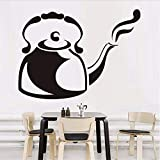 Gwgdjk Wandaufkleber Dampfkaffee Wasserkocher Küche Restaurant Große Aushöhlen Vinyl Aufkleber Wandkunst Aufkleber Klebstoff Wandtattoo 89X58 Cm