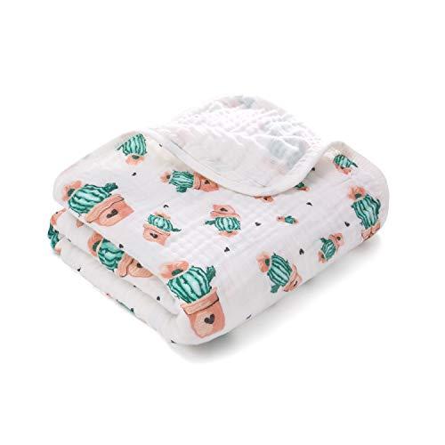 Miracle Baby Wickeltuch, Baby-Wickeldecke, Kinderwagen-Decke für Neugeborene, weich und gemütlich, zwei Schichten Musselin-Baumwolle, unisex, 100 x 150 cm(Zwei Schichten,Kaktus)
