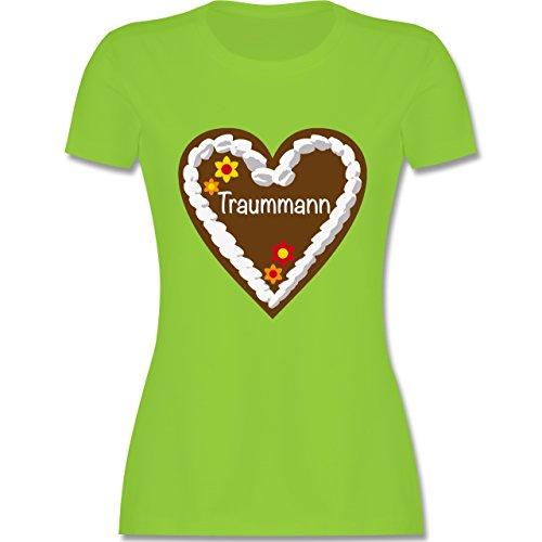 Valentinstag - Lebkuchenherz Traummann - tailliertes Premium T-Shirt mit Rundhalsausschnitt für Damen Hellgrün