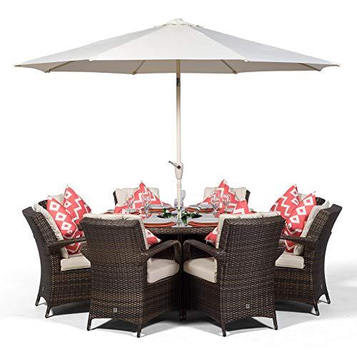 Arizona Großes Rattan Gartenmöbel Set für 8 Personen Braun | Polyrattan Garten Möbel Sitzgruppe mit Tisch, Getränkekühler und Sonnenschirm | Lounge Möbel Terrasse, Balkon Möbel Set | Mit Abdeckung