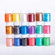 20 Colors Mica Powder Pigments for Eye Shadow, Soap Making Colorants, Bath Bombs, Candle Making, Nail Polishes