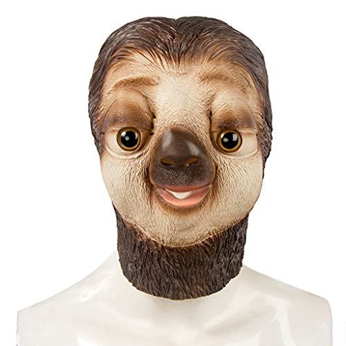 Halloween Weihnachten Maske Verrückte Tier Stadt Faultier Maske Kopfbedeckung Bühnenmaske Horror Maske Maskenmaske Masken (Color : Brown, Size : 29CM/11inch)