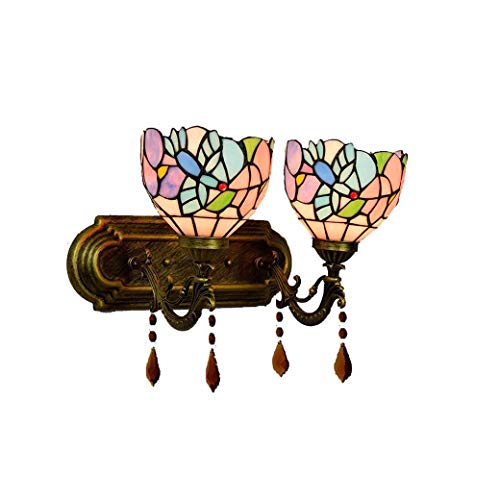 Tiffany-Stil-Wandleuchte, Vintage pastorale Glasmalerei-Wandleuchten, Home-Hall-Licht, Küche, Treppe, Club, Dessert Shop yd&h (Stil : Doppelter Kopf) Dessert-club