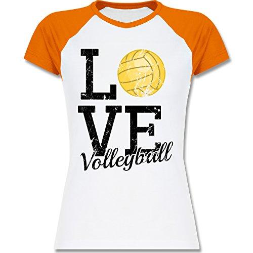 Volleyball - Love Volleyball - zweifarbiges Baseballshirt / Raglan T-Shirt für Damen Weiß/Orange