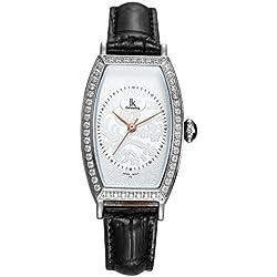 Fashion Simple Creative Rectangle Luxury Rhinestones Leather Strap Quartz Women Wrist Watch,White-Black