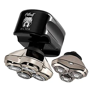 Skull Shaver Pitbull Silver PRO with Bonus CR3 Blade Men's Electric Head Shaver Electric Razor for Head and Face (USB Charger)
