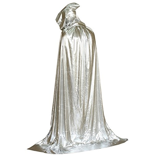 Halloween Kostüme Tod Mit Kapuze Mantel Teufel Party Cosplay Robe Capes Silber ()