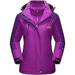 Winter Jackets Women Waterproof Fleece Jacket 3 in 1 Systems Climbing Skateboard Thick Soft Shell Coat Lady Casual Outdoor Sports Hoodie, UK L New, Purple