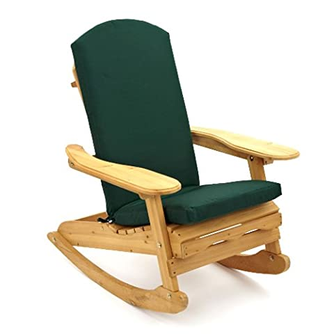 Adirondack Patio | Garden Rocking Chair including Luxury Cushion in Dark Green