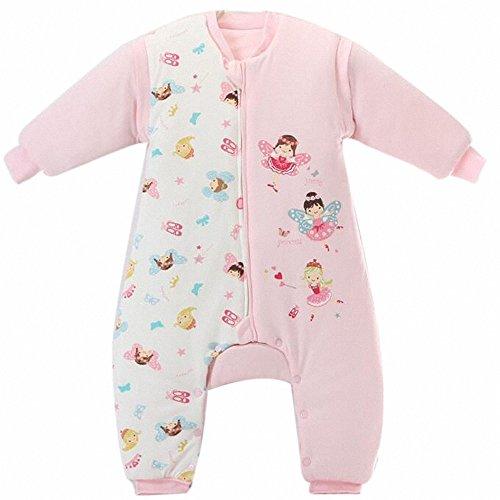 Babys Schlafsack mit langen Ärmeln mit Füssen kinder Winterschlafanzug aus Baumwollen Junge und Mädchen pyjama/overall/Strampler.mit dicker für 1-5 jährige. (Rosa Engel, XL: 100-120 cm)