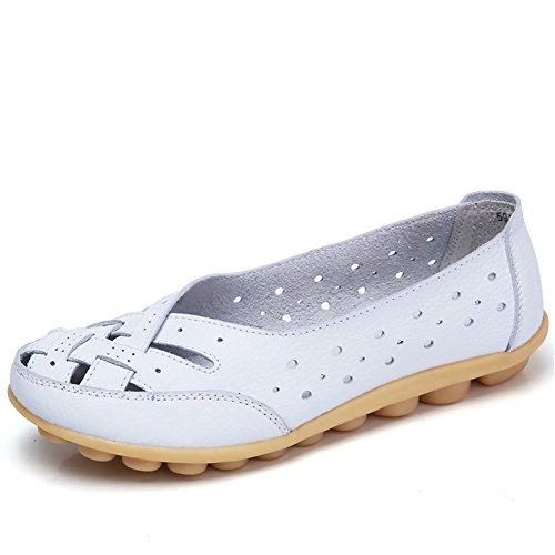 SCIEU Damen Mokassin Bootsschuhe Hohl Leder Loafers Schuhe Flache Fahren Halbschuhe Slippers, Weiß 42
