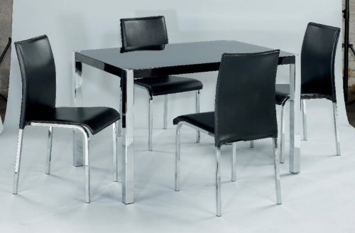 Novello High Gloss and chrome Dining set in Black