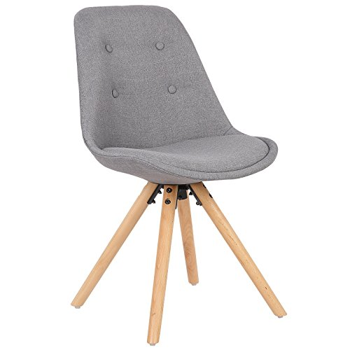 WOLTU® BH54gr-1 1 Stück Esszimmerstuhl, Sitzfläche aus Leinen, Design Stuhl, Küchenstuhl, Holzgestell, Grau