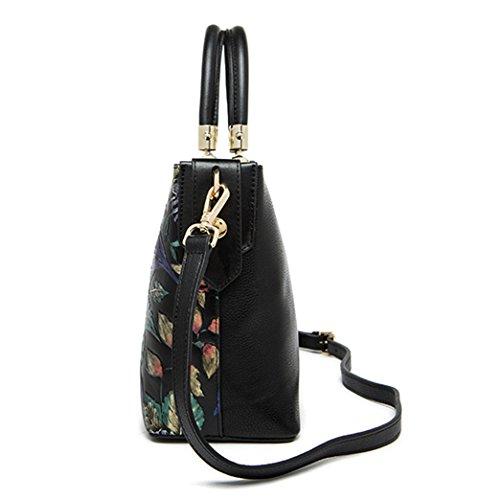 Xinmaoyuan Borse donna Borse in pelle spalla singolo borsetta fiore Stereo Borsa in pelle Nero