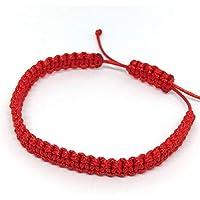 ParticolarModa Bracciale dell' amicizia in corda nylon piatto regolabile Rosso