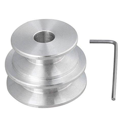 BQLZR plata 2pasos de aluminio Groove fijo Bore Polea para motor eje redondo cinturón con llave, plateado