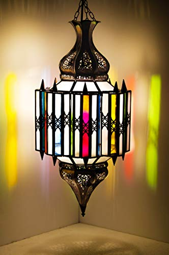 Orientalische Lampe Pendelleuchte Bunt Asham 60cm E27 Lampenfassung | Marokkanische Design Hängeleuchte Leuchte aus Marokko | Orient Lampen für Wohnzimmer Küche oder Hängend über den Esstisch
