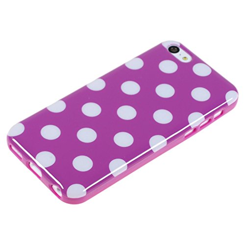 PhoneNatic Case für Apple iPhone 5c Hülle Silikon Design:01 Polkadot Cover iPhone 5c Tasche + 2 Schutzfolien Design:11