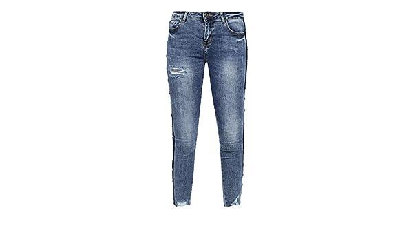 Jeans con strisce laterali e perle Donna