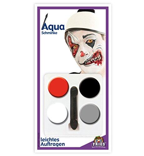 HALLOWEEN Aqua Schmink-Set Horror Clown Horror Schminke Set 5tlg 4 Tiegel + Applikator