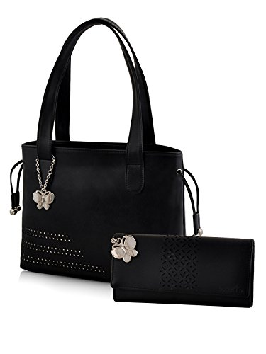Butterflies Women Handbag and Wallet Combo's (Black) (BNS WB0332) (Pack of 2)