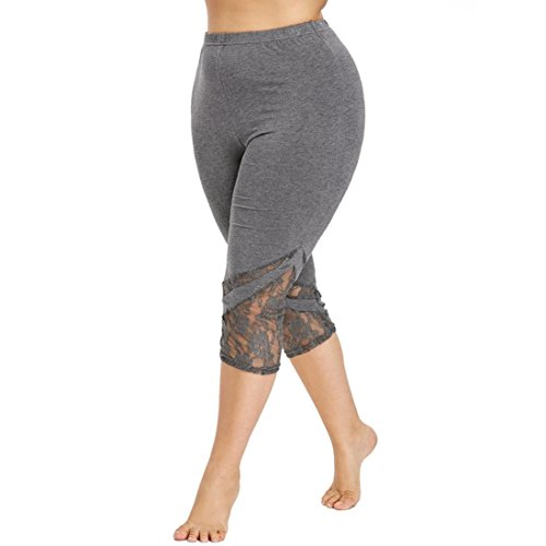 Cebbay Cheap Womens Plus Size Pants, Lace Trim Capri Fitness Leggings Slim Fit Trousers for Sports Gym