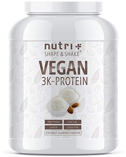 PROTEIN VEGAN Kokosnuss Mandel 1kg | 83,8% Eiweiß | Shape & Shake ® 3k Low-Carb Pulver | Veganes Eiweißpulver ohne Laktose | Kokos Proteinpulver | In Deutschland hergestellt -