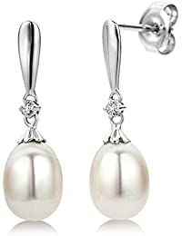 Miore 9 kt (375) White Gold Freshwater Pearl Drop Earrings with Diamonds (0.02 ct) for Women, 7 x 22mm