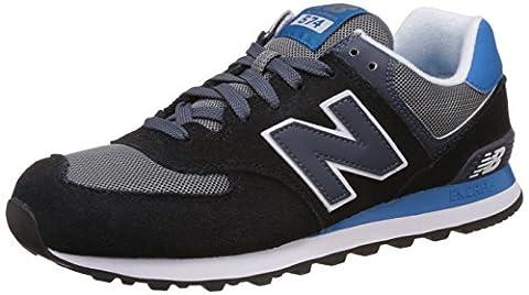 New Balance Men 574 Training Running Shoes, Multicolor (Black/Blue 945),