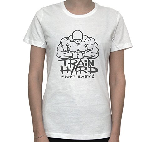 Train Hard Fight Easy Graphic Women's T-Shirt Blanc