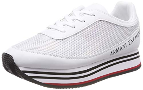 Armani Exchange Damen Rainbow Mirror lace up Sneaker, Weiß White A222, 38 EU