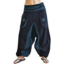 pantalones cagados de alta calidad corte suelto para hombres y mujeres (talla única) como ropa hippie y pantalones GOA de virblatt S - L – Quirlig Azul