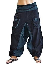 pantalones cagados de alta calidad corte suelto para hombres y mujeres (talla única) como ropa hippie y pantalones GOA de virblatt S - L – Quirlig