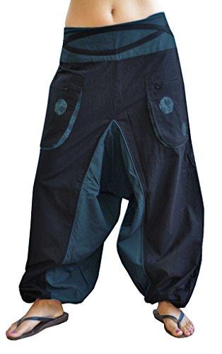 Hochwertige Haremshose für Männer und Frauen (Einheitsgröße) als alternative Kleidung und GOA Hose von virblatt S - L - Quirlig Blau (Zumba Kleidung-mann)