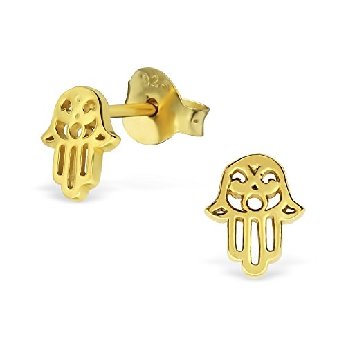 Laimons Damen-Ohrstecker Damenschmuck Hand der Fatima glanz vergoldet Sterling Silber 925