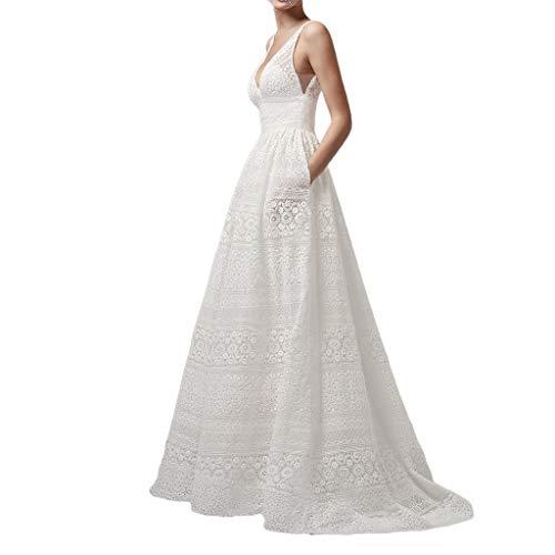AmyGline Kleider Damen Hochzeitskleid V-Ausschnitt Ärmellos Hohl High Waist Sexy Abendkleider Cocktailkleid Partykleid Ballkleid Brautjungfer Brautkleid