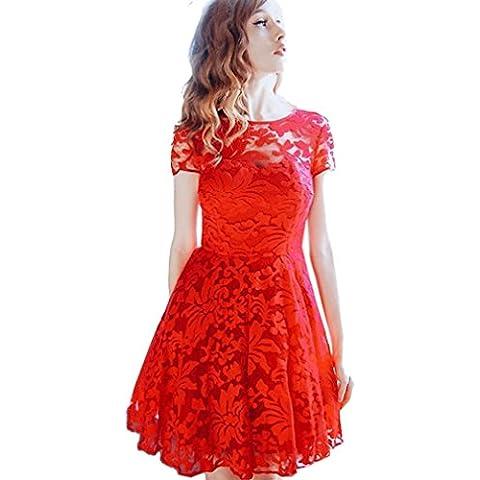 AIYUE Vestido de Cuello Redondo Manga Corta Encaje Floral Falda Volante Dress para Fiesta Cóctel