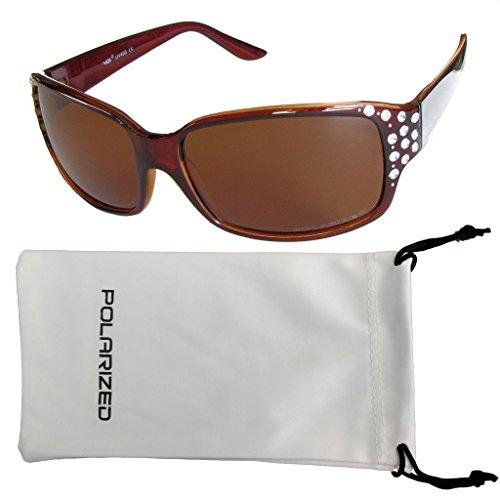 VOX Femenina Gafas de Sol Polarizadas Diseñador Moda Diamantes de Imitación - Marco Azul y Negro - Humo Lente