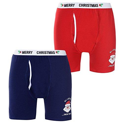 D555 Herren Weihnachten Claus Boxershorts Print Marinefarbe/rot 2XL