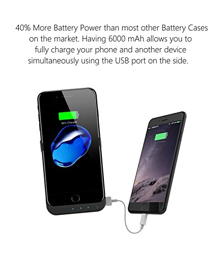 iPhone 7battery case: Caricabatterie per Apple iPhone 766S Best Christmas Gift Portable Lightning ricarica Power Bank da 6000mAh ricarica backup nero con cavalletto sottile schermo i