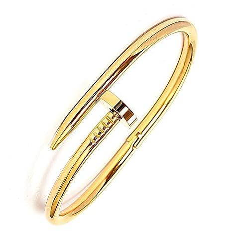 Neevas 18K Plate Celebrity Design Style Silver Gold Nail Bangle Bracelet Titanium Steel Unisex