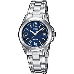 Casio - LTP-1259D-2AEF - Montre Femme - Quartz Analogique - Cadran Bleu - Bracelet Acier Argent