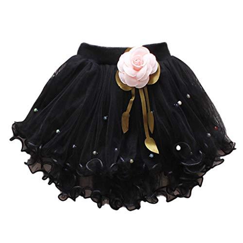 Preisvergleich Produktbild YWLINK MäDchen Zeigen Tanz Party Blume Prinzessin Mesh Karneval Minirock Mit Perlen Elastische Taille Tutu Rock (Schwarz, 10)
