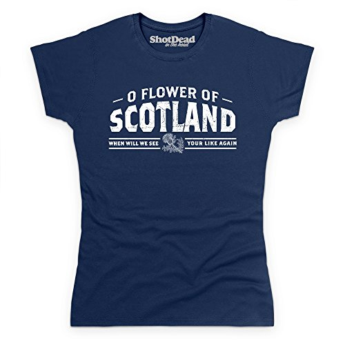 Flower Of Scotland T-Shirt, Damen Dunkelblau