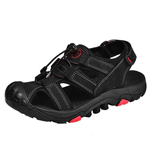 iHAZA Herren Sommer Neue Retro Flache Schuhe Hohle Einfarbige Atmungsaktive Sandalen - Aqua Leder Boot
