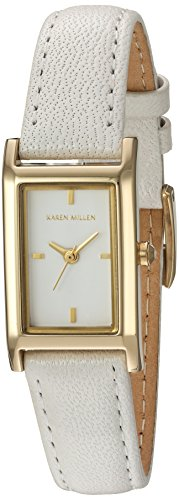 Karen Millen Women's Quartz Watch with White Dial Analogue Display and Brown Leather Strap KM114WG