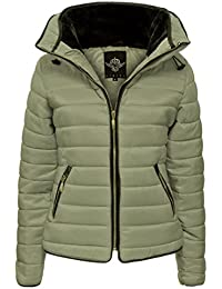 Womens Ladies Quilted Padded Coat Bubble Puffer Jacket Fur Collar Hooded Thick [Khaki, UK M]