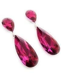 501324b2353c Pendientes Largos Mujer Bisutería Cristales de Colores Fiesta Boda Forma  Lágrima Chapado Oro