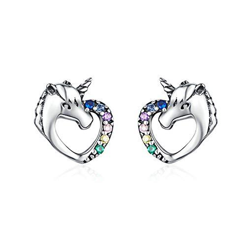 CNNIK Aretes de plata 925 con corazón de unicornio y circonita cúbica para mujeres niñas, Aretes perforantes libres de níquel y alergia con caja de regalo