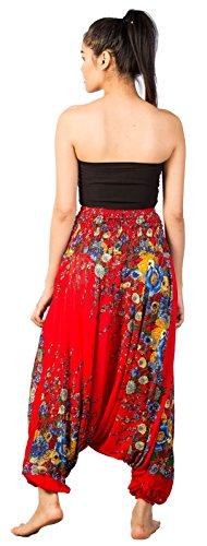 Lofbaz Pantaloni da Donna Smocked Waist Elefante Funky Pavone Harem Floreale Jumpsuit Floral 1 Rosso